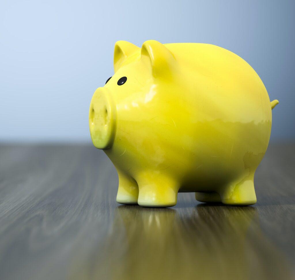 yellow piggy bank background